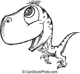 Sketch Doodle Cute dinosaur - Sketch Doodle Cute Raptor...
