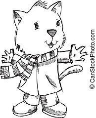 Doodle Drawing Winter Cat Vector