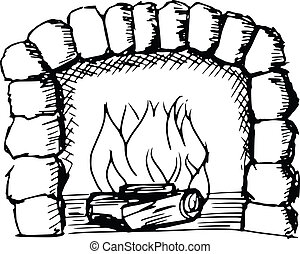 fireplace - sketch, doodle, hand drawn illustration of...