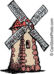 sketch, doodle, hand drawn illustration of mill