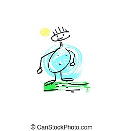 sketch doodle human stick figure fat man