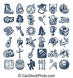 sketch doodle icon collection, picnic, travel and camping...