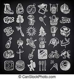 sketch doodle icon collection, picnic, travel and camping ...
