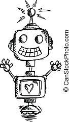 Sketch Doodle Robot Vector