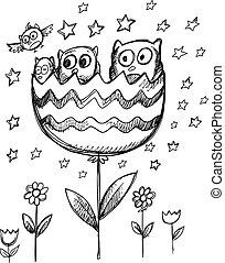 Sketch Doodle Spring Owl Flowers