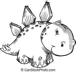 Sketch Doodle Stegosaurus vector