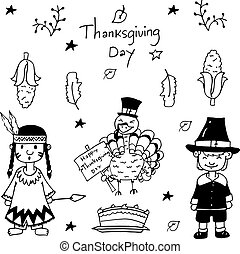 Sketch doodle Thanksgiving icon set