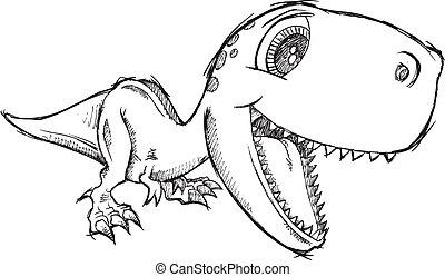 Sketch Doodle Cute Tyrannosaurus Rex Dinosaur Vector