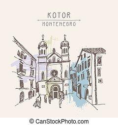 sketch drawing Church of Saint Tryphon in Kotor Montenegro -...