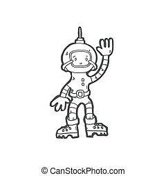 icon of cosmonaut boy in space suit - sketch drawing doodle...