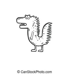 doodle icon of stupid funny crocodile - sketch drawing...