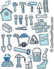 sketch., drawing., griffonnage, industrie, dessin animé, hand-drawn, construction, set., icône