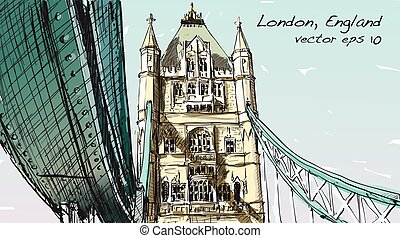 sketch drawing in London England show Tower Bridge, illustration vector