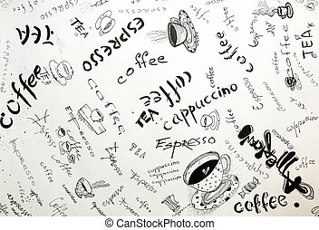 Sketch drawing ink on coffee