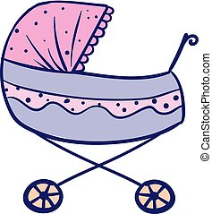 Sketch drawing of a pink stroller for baby/Pram, vector or...