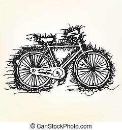 sketch drawing of bicycle vector