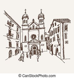 sketch drawing of Church of Saint Tryphon in Kotor...