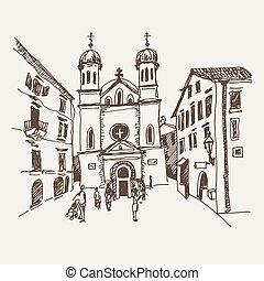 sketch drawing of Church of Saint Tryphon in Kotor Montenegro