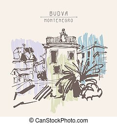 sketch drawing of historical building with palm in Budva...