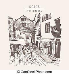 sketch drawing of Kotor street Montenegro, vintage touristic pos