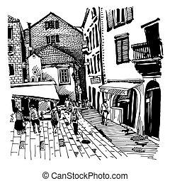 sketch drawing of Kotor street Montenegro - original black...