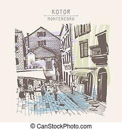 sketch drawing of Kotor street Montenegro, vintage touristic...