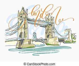 sketch drawing of London Bridge Tower in England with hand...