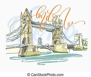 sketch drawing of London Bridge Tower in England