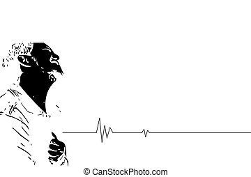 Sketch drawing of man pain disease heart attack - Sketch...