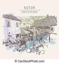 sketch drawing of old town view Kotor Montenegro, vintage...