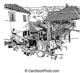 sketch drawing of old town view Kotor Montenegro