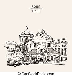 sketch drawing of Rome cityscape, Italy old historical building,