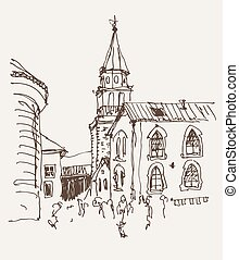 sketch drawing of the bell tower church top view in old town...