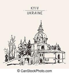 sketch drawing of Vydubychi monastery in Kyiv Ukraine, sketching