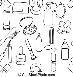 sketch drugstore seamless pattern