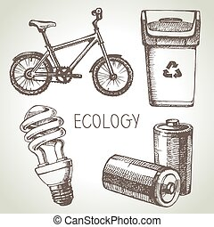 Sketch ecology set. Hand drawn vector illustration