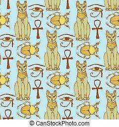 Sketch Egyptian cat, bug, Osiris eye in vintage style,...