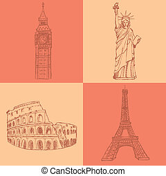 Sketch Eifel tower, Coliseum, Big Ben and Statue of Liberty, vector vintage set