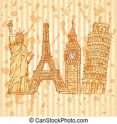 Sketch Eifel tower, Pisa tower, Big Ben and Statue of Liberty, vector vintage background