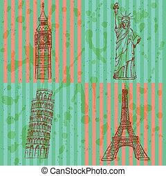 Sketch Eifel tower, Pisa tower, Big Ben and Statue of Liberty, vector vintage set