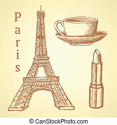 Sketch Eiffel tower, lipstick and cup, vector background