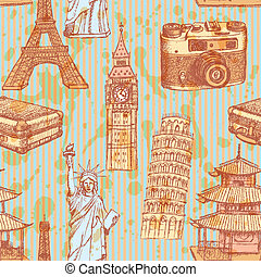 Sketch Eiffel tower, Pisa tower, Big Ben, suitecase, photocamera, Chinese temple and Statue of Liberty, vector vintage seamless pattern