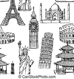 Sketch Eiffel tower, Pisa tower, Big Ben, Taj Mahal,...