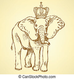 Sketch elephant in crown, vector background - Sketch...