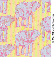 Sketch elephant, vector vintage seamless pattern