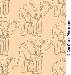 Sketch elephant, vector vintage seamless pattern