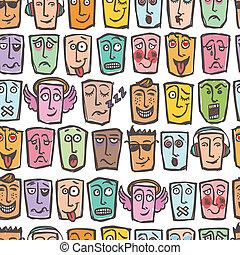 Sketch emoticons seamless pattern