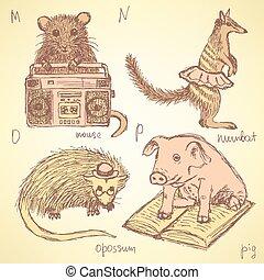 Sketch fancy animals alphabet in vintage style, vector m, n,...