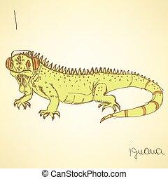 Sketch fancy iguana in vintage style, vector