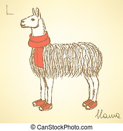 Sketch fancy llamal in vintage style, vector